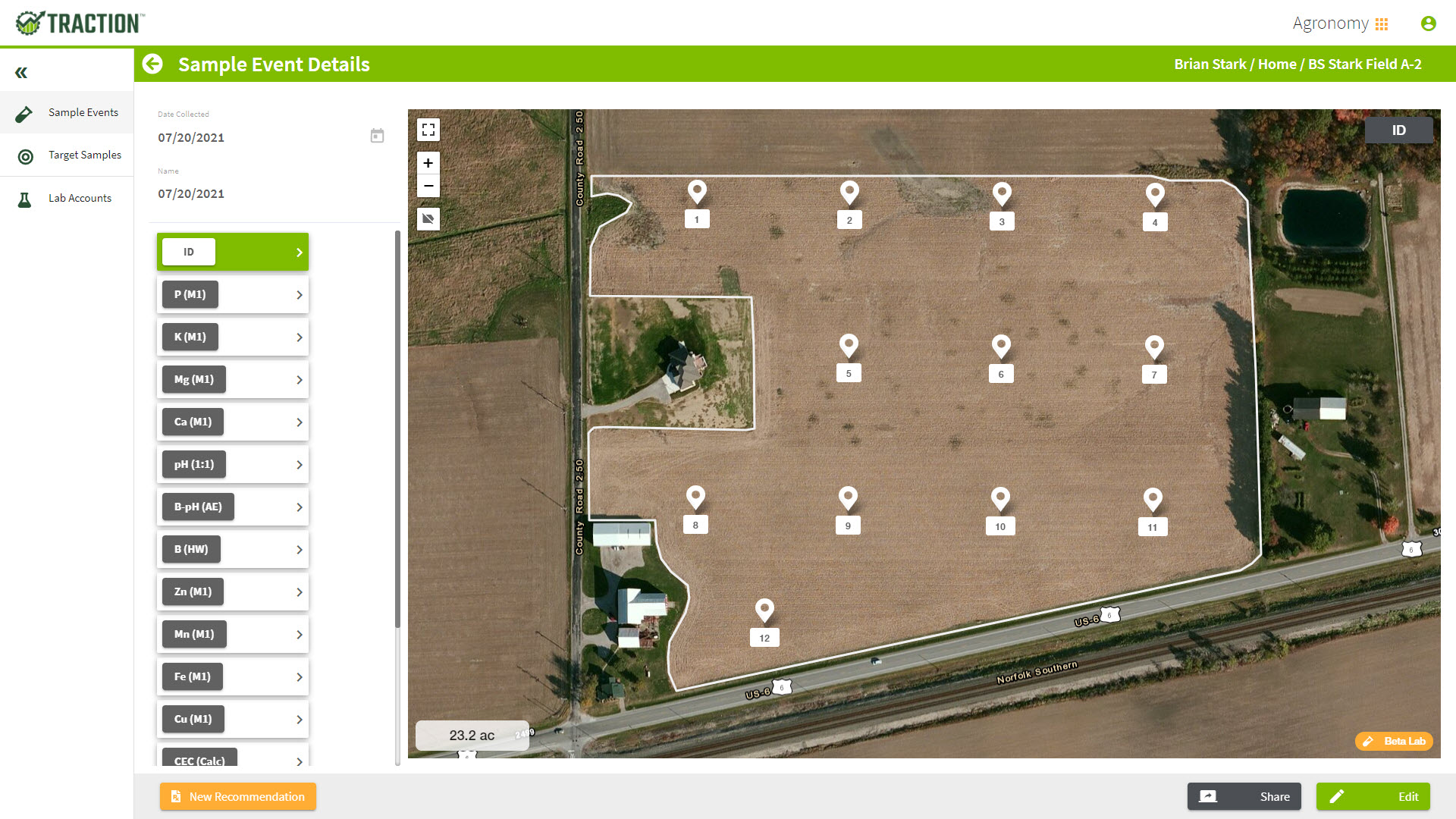 Traction agronomy software lays out target points for soil sampling.