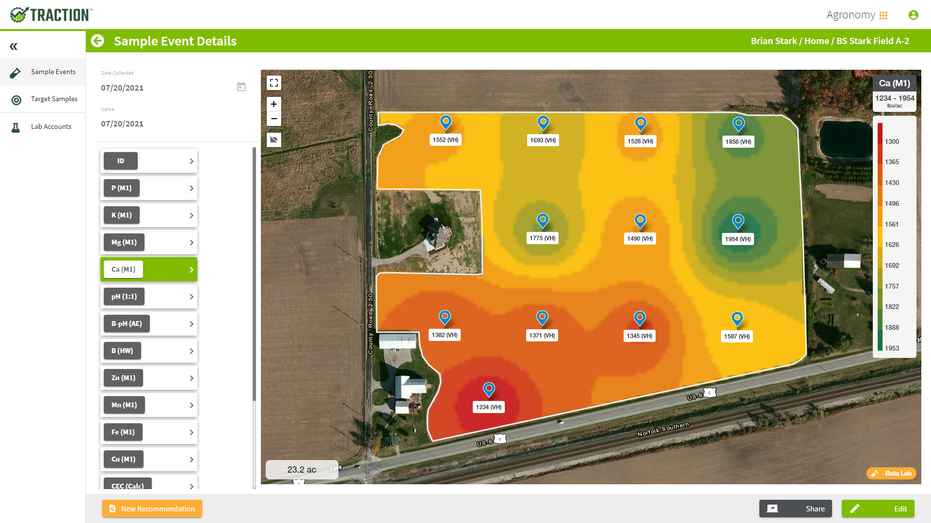 Traction agronomy software generates recommendations using pre-built formulas.