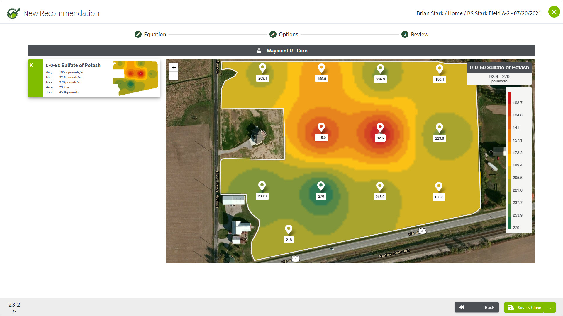 Traction agronomy software can create variable rate prescriptions.