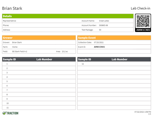 Traction agronomy software provides lab check-in sheets.